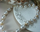 Necklace, Ivory, Choker Style, Beaded, Faux Pearls, Filigree, Vintage, Wedding