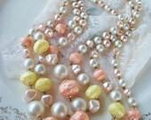 Vintage, Pastel 3 Strand, Long Plastic Beaded Necklace