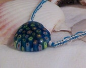 Blue and White Hemp Necklace with millefiori glass Heart