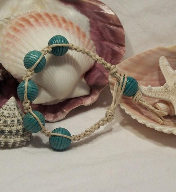 Turquoise Colored Wood Beaded Hemp Bracelet
