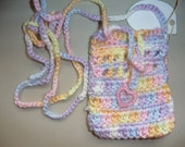 Handmade Sokie Dokie Cell Phone Pouch in girly colors with a Little Ornament Latch