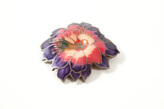 Vintage Flower Pin from the 1980's Hibiscus Brooch