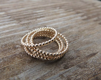 Beaded Stacking Ring Gold Stackable Rings - Gold Ball Ring Eternity Ring Gold Ball Chain Ring - Rose Gold Eternity Band, Gold Eternity Band