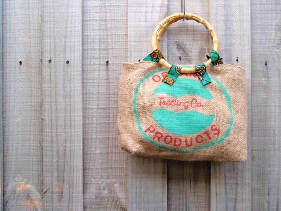 Organic Coffee Sack Handbag lined with African Wax cloth