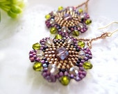 Purple Beaded Flower Earrings, Bohemian Beaded Earrings, Flower Dangle Earrings, Crystal Earrings, Boho Chic, Summer Indian, Hippie, Hippy