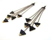 Black Triangle Earrings, Beaded Black Earrings, Black Dangle Earrings, Beaded Chain Earrings