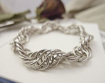 Spiral Chainmaille Bracelet Bangle Silver Chainmail Handmade by JeannieRichard