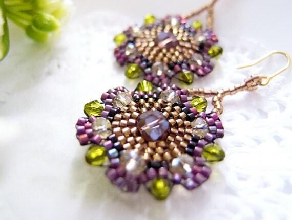 Purple Bohemian Earrings, Flower Beaded Earrings, Crystal Earrings, Boho Chic, Summer Indian, Hippie, Hippy