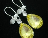 Canary Yellow earrings, Bridal crystal earrings, Bridesmaid earrings, Bridal earrings, Bridal jewelry, Wedding earrings