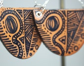 Glossy Hand Illustrated Leather Henna Inspired Chain Earrings by Cre8tivesoul