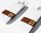 White and Brown with Yellow Dots Rectangle Dangle Earrings by Cre8tivesoul