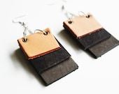 Stacked Tan Brown and Gray Leather Dangle Earrings by Cre8tivesoul