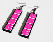 """Hot Pink and Black """"Love"""" Acrylic Earrings by Cre8tivesoul"""