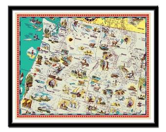"Illustrated map - Vintage Washington, Oregon and Idaho map - a retro and funny map - 11 x 14"""