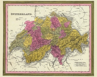 Switzerland map - Vintage map of Switzerland - Fine  print