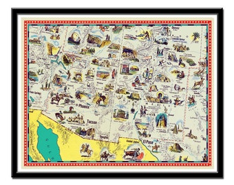"""Vintage map of Arizona - New Mexico map - Illustrated map -  - 11 x 14"""""""