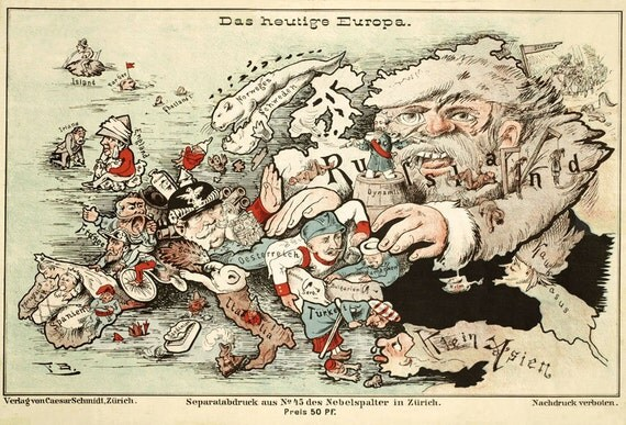 """Europe map - Comic map of Europe - Funny map - Fine reproduction - 11 x 14"""""""