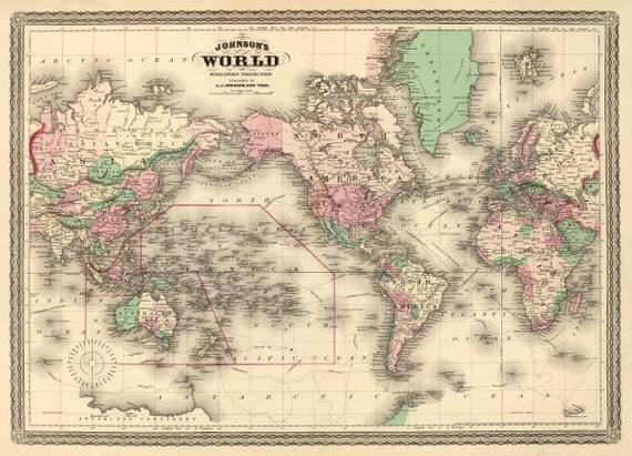 Antique map world wall map vintage world map by ancientshades for World map wall print