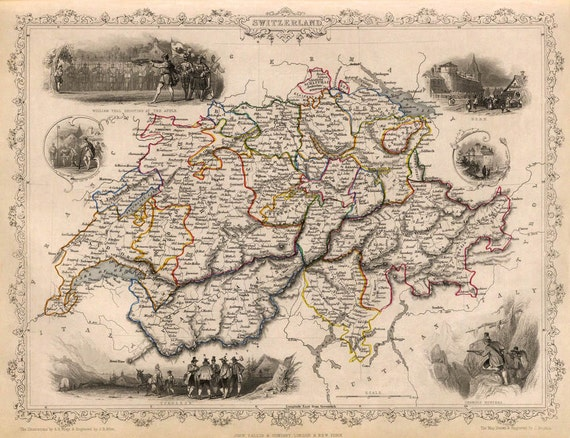 Old Map Of Switzerland Antique Map Historic By Ancientshades