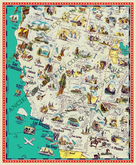 Vintage California and Nevada map Illustrated California map