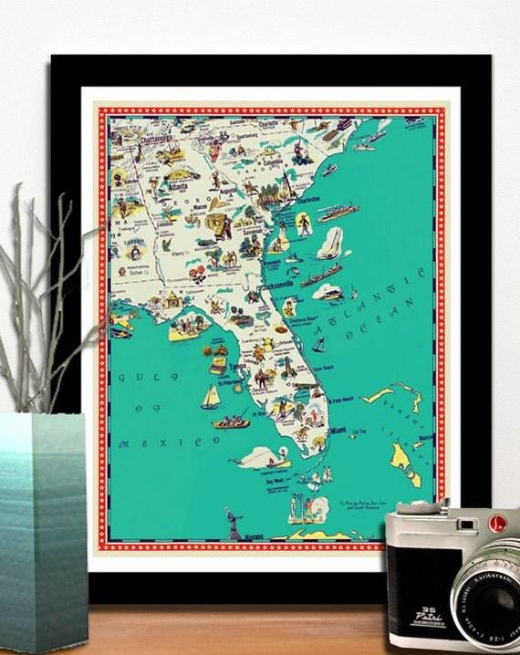 "Florida map - Georgia map - South Carolina map - Illustrated map  poster -   a retro and funny map - 11x14"""