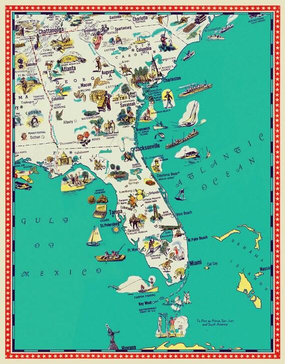 Florida Map Georgia Map South Carolina Map Illustrated - Map of georgia and south carolina
