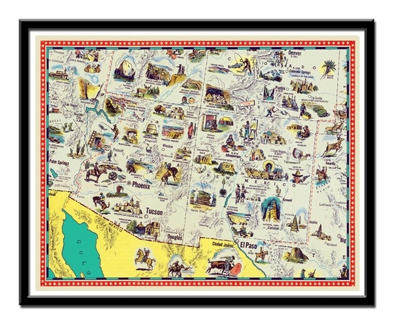 Vintage Map Of Arizona New Mexico Map Illustrated Map - Map of arizona and new mexico