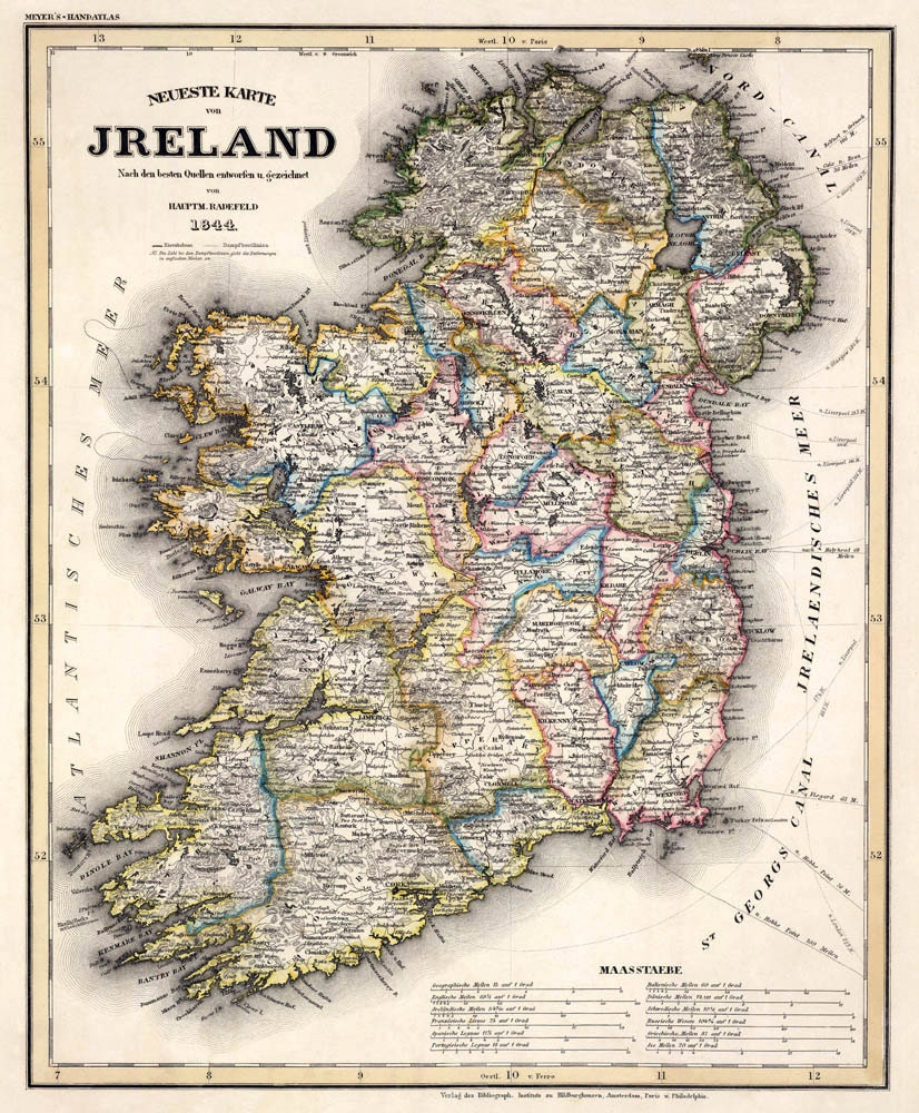 Old map of Ireland Archival reproduction Ireland map