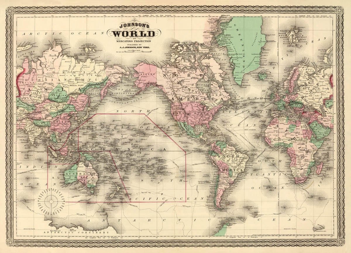 Map of the world World wall map Vintage map of the world