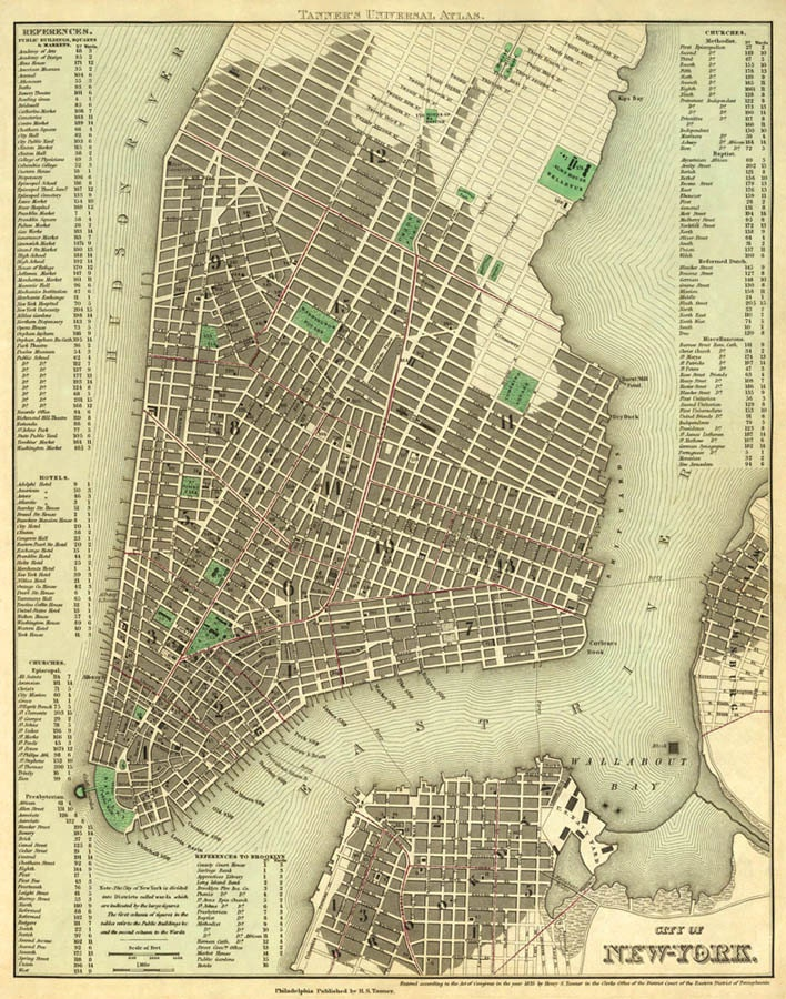 New York City Map Old Map Of New York City Print NYC Old
