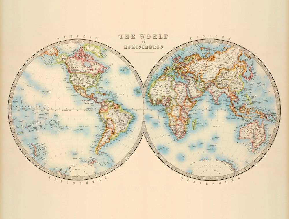 Antique map of the world Vintage world map by AncientShades