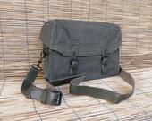 Vintage Military Olive Green Canvas Shoulder Messenger Bag