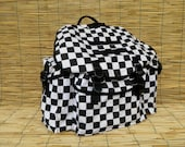 Vintage Black and White Checkered 3 Pockets  Backpack