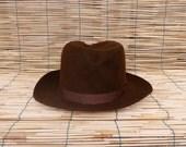 Vintage Man's Brown Fedora Hat  Size EUR 56 US 7