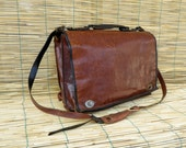 Vintage Distressed Brown Leather Shoulder Strap Bag with Damage