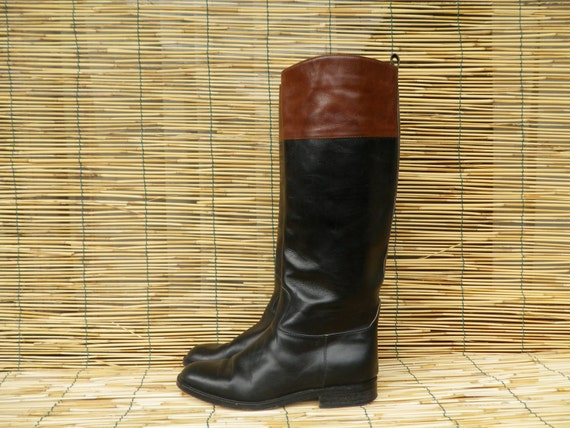 vintage s knee high two tone black and brown leather
