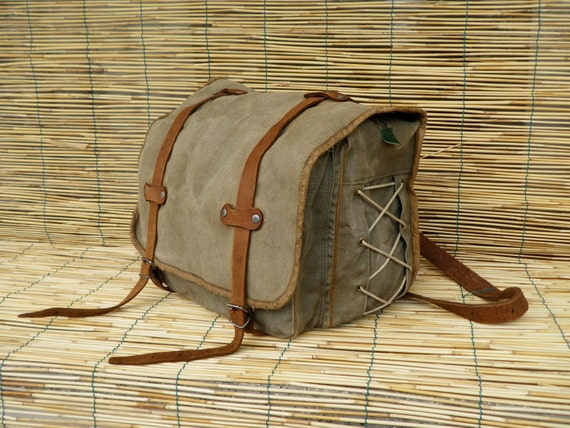 Vintage 1950's Military Washed Out Canvas  Bag