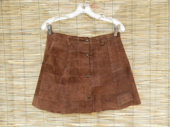 Vintage  Brown Suede Patches Skirt