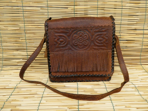 Vintage Lady's 1970's Dark Brown Leather Bag With Fringes
