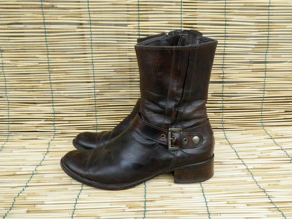 Vintage Lady's Brown Leather Ankle Boots With Side Buckle Size EUR 37 US Woman 6 1/2
