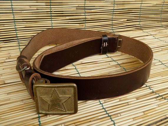 """Vintage 1940's Military Brown Leather Belt With A Star Metal Buckle Fits up to 44"""" waist"""