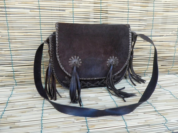 Vintage Lady's 1970's Dark Brown Suede Bag Purse with Fringes