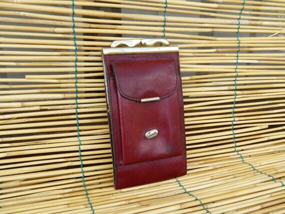 Vintage Glasses Brown Red Leather Case