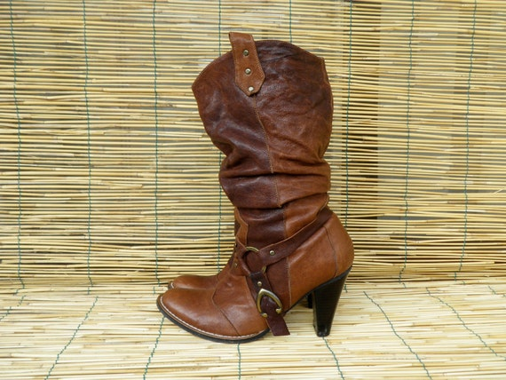 RESERVED Vintage Lady's Brown Leather Harness Buckle Heel Boots  Size: EUR 36 / US Woman 6
