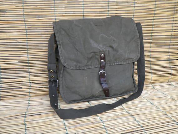 Vintage 1970's Army Cotton Canvas Messenger Bag