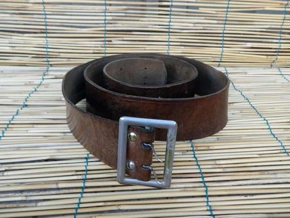 "Vintage 1940's Military Very Distressed Brown Leather Belt Fits from 32"" to 44"" waist"