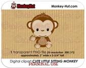 Cute Little Monkey Sitting Waving clip art / clipart monkeys jungle safari / INSTANT DOWNLOAD