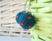 Teal Blue Green Crochet Dangle Earrings Balls