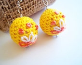 Embroidered yellow earrings crocheted ball dangle spring jewelry retro flower motif