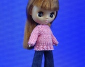 Petite Blythe doll size hand knitted sweater